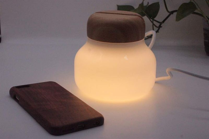 Smart Home Bedroom Cheap Small Blown White Glass bottle Wooden Portable Luminaire LED Table Lamp wit