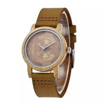 Genuine Lather Band Bamboo Watch